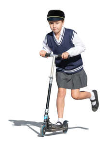 cut out girl in a school uniform riding a scooter