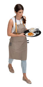 cut out waitress with a tray walking seen from above