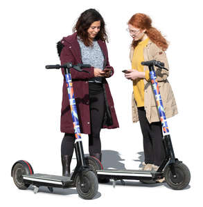 two cut out women standing and preparing to rent electric scooter