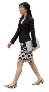 cut out woman carrying a laptop walking