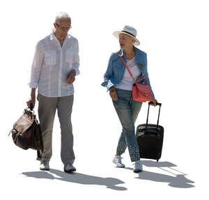 cut out backlit elderly man and woman with travel bags walking