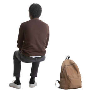 cut out man sitting seen from back angle