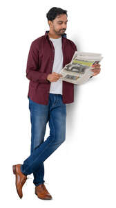 cut out man leaning against the wall and reading a newspaper