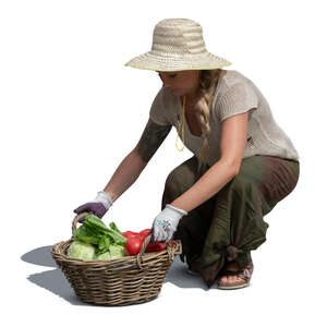 cut out woman squatting and picking up a basket of vegetables