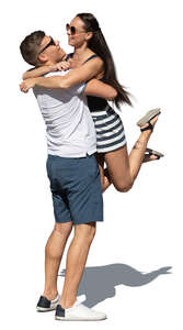 cut out couple hugging happily