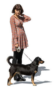 cut out teenage girl with a dog standing
