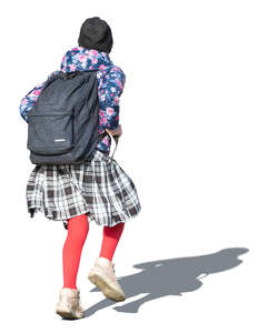 cut out girl with a school bag walking