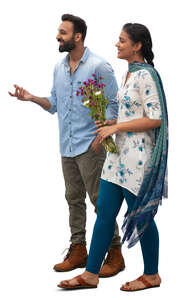 cut out indian man and woman walking happily