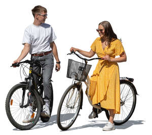 cut out young man and woman with bicycles standing and talking