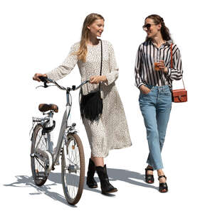 two cut out young women with a bicycle walking and talking