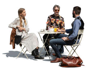 cut out cafe scene with three people sitting and talking