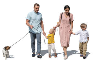 family with two kids and a dog walking