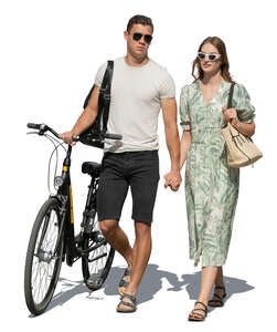 cut out couple walking hand in hand in summer