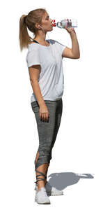 cut out woman taking a break in workout and drinking water
