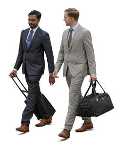two cut out travelling businessmen walking and talking