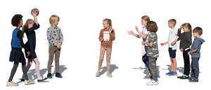 cut out group of kids playing a ball game