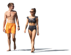 cut out young man and woman walking in resort