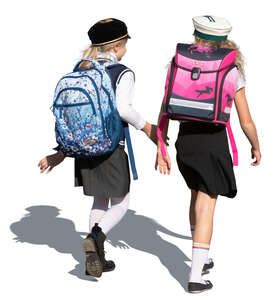 two cut out schoolgirls walking and talking