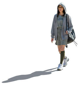 cut out asian wooman in a grey hooded jacket walking