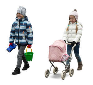 cut out two kids in outdoor clothes walking