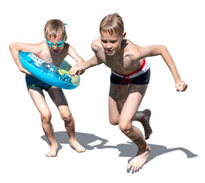 two cut out boys by the pool jumping into the water