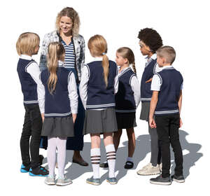 cut out group of school children talking to their teacher