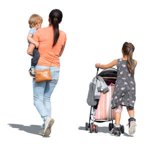 cut out woman with two children walking