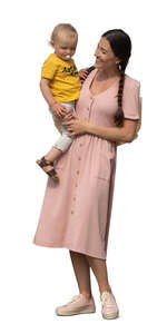 cut out woman in a pink dress standing and holding her baby boy