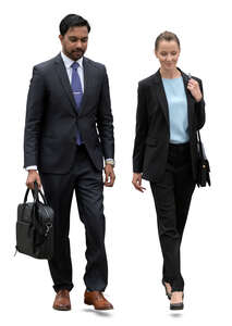 two cut out businesspeople walking