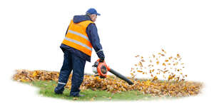 cut out man working with a leaf blower