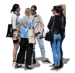 cut out group of teenage girls standing and talking