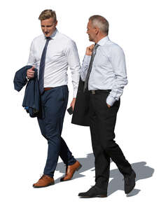 two cut out businessmen walking and talking