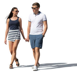 cut out man and woman walking hand in hand on a summer day