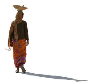 cut out indian woman walking with a bowl on her head