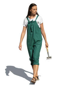 cut out female gardener walking