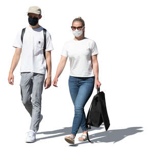 two cut out young people wearing face masks walking