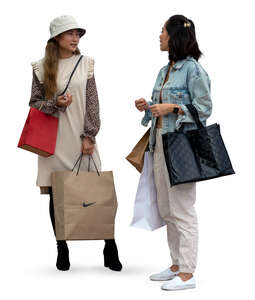 two cut out young asian women with shopping bags standing and talking