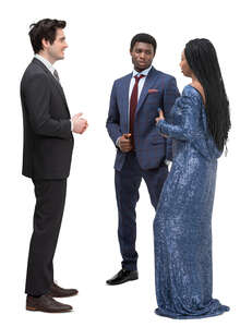 three cut out people at a party standing and talking