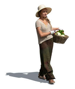 cut out woman carrying a vegetable basket