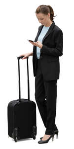 cut out businesswoman with a suitcase standing