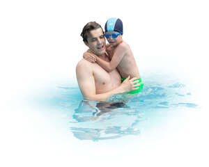 cut out father taking his son to swimming