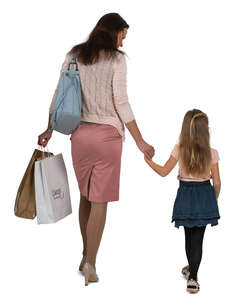 cut out mother and daughter walking hand in hand and carrying shopping bags