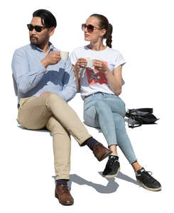 cut out man and woman sitting and drinking coffee