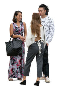 three cut out young east asian people standing and talking