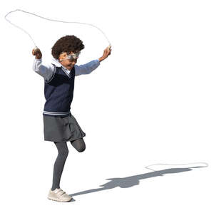cut out schoolgirl jumping with a jump rope