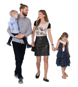cut out family with two kids walking and talking