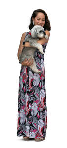 cut out woman standing and holding her dog in her lap