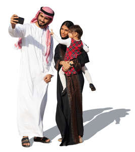 cut out traditional arab family taking a selfie
