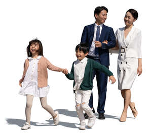 cut out asian family with two kids walking on a summer day