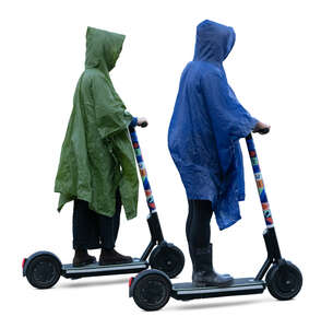 two cut out women wearing raincoats riding scooters
